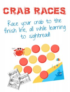 Crab Races is a fun and exciting to get students sight reading in middle C position. Crab Races takes the boring out of sight reading and fuels this skill with fun and excitement